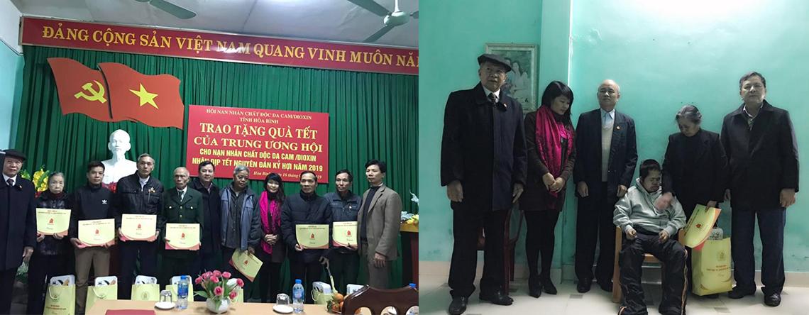 Tặng quà tết cho nạn nhân chất độc da cam tại Hoà Bình và Sơn La