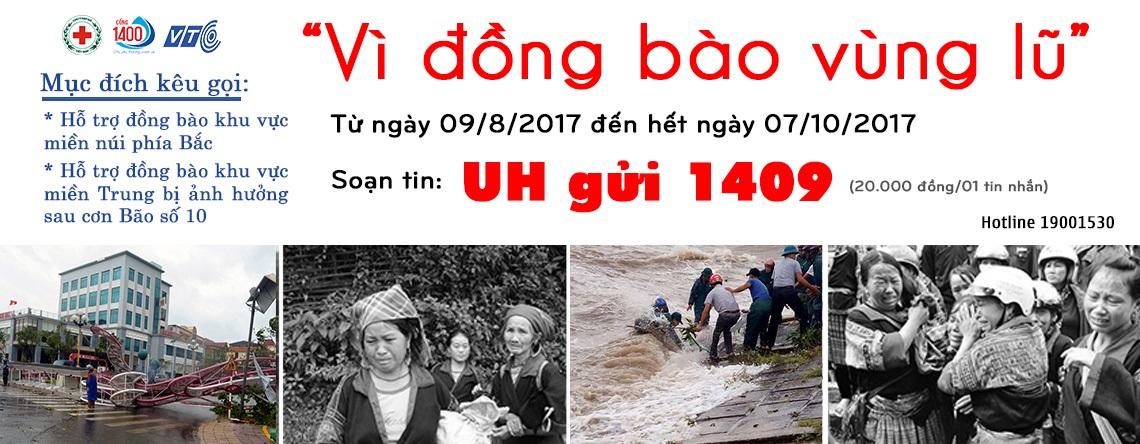 """Ủng hộ đồng bào miền Trung bị ảnh hưởng bởi cơn bão số 10 qua """"UH gửi 1409"""""""